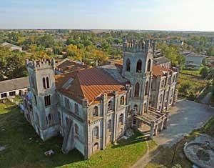 Съемка с дрона Аэрофотосъемка замок в пос. Червоное. Андрушевский район Житомирская область, Украина