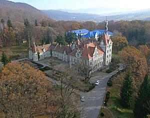 Съемка с дрона Аэрофотосъемка замок Шенборн. Мукачевский район, Украина