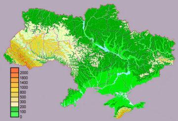 Геофизическая карта высот Украины