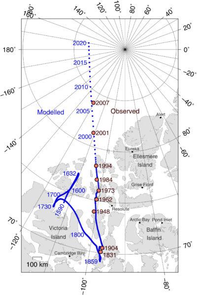Движение магнитного полюса Земли