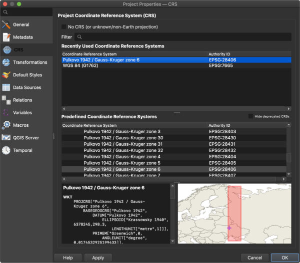 Настройка системы координат проекта QGIS